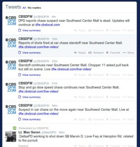 These are tweets from the DFW CBS 11 local new desk