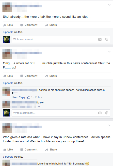 Typical AntObama Response - Facebook