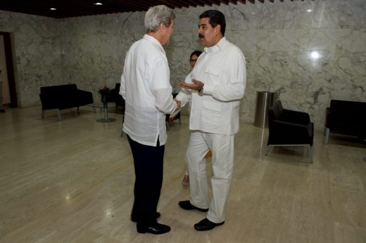 U.S. Secretary of State John Kerry with Venezuelan president Nicolas Maduro, have a positive and informal meeting