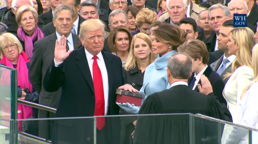 From President-elect to dictator, Trump swearing in at inauguration.